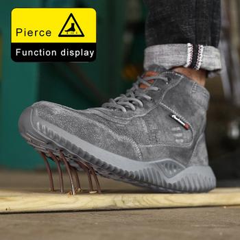 Przemysłowe buty do pracy obuwie ochronne stalowe Toe niezniszczalne buty męskie oddychające na zewnątrz anty rozbijanie odporne na przebicie bezpieczeństwo tanie i dobre opinie AGILESTAR Pracy i bezpieczeństwa Mesh (air mesh) ANKLE Lace-up Pasuje prawda na wymiar weź swój normalny rozmiar Okrągły nosek