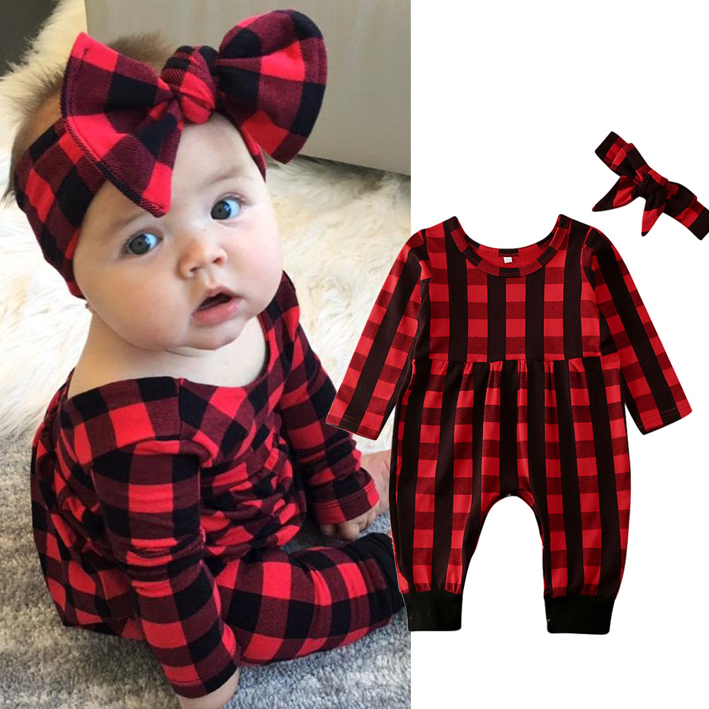 Baby girl plaid jumpsuit