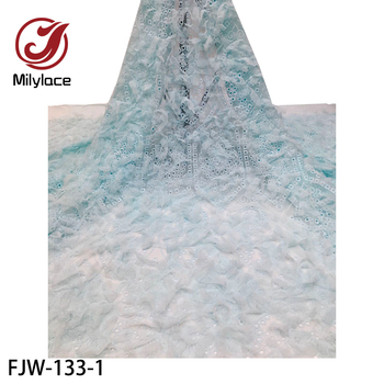 2020 African Lace Fabric High Quality 3D Appliques Embroidery Mesh Lace Fabric Trim for Evening Dress FJW-133