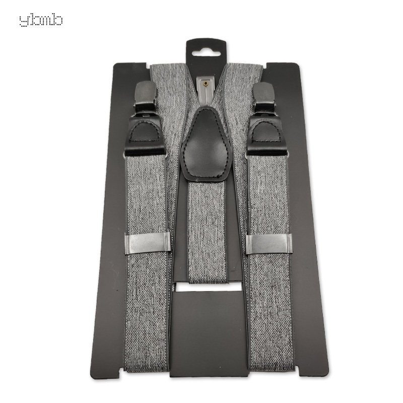 YBMB Fashion Shirt Suspenders 225mm Wide, Leather And Antique Silver Accessories, Adjustable High-end Straps