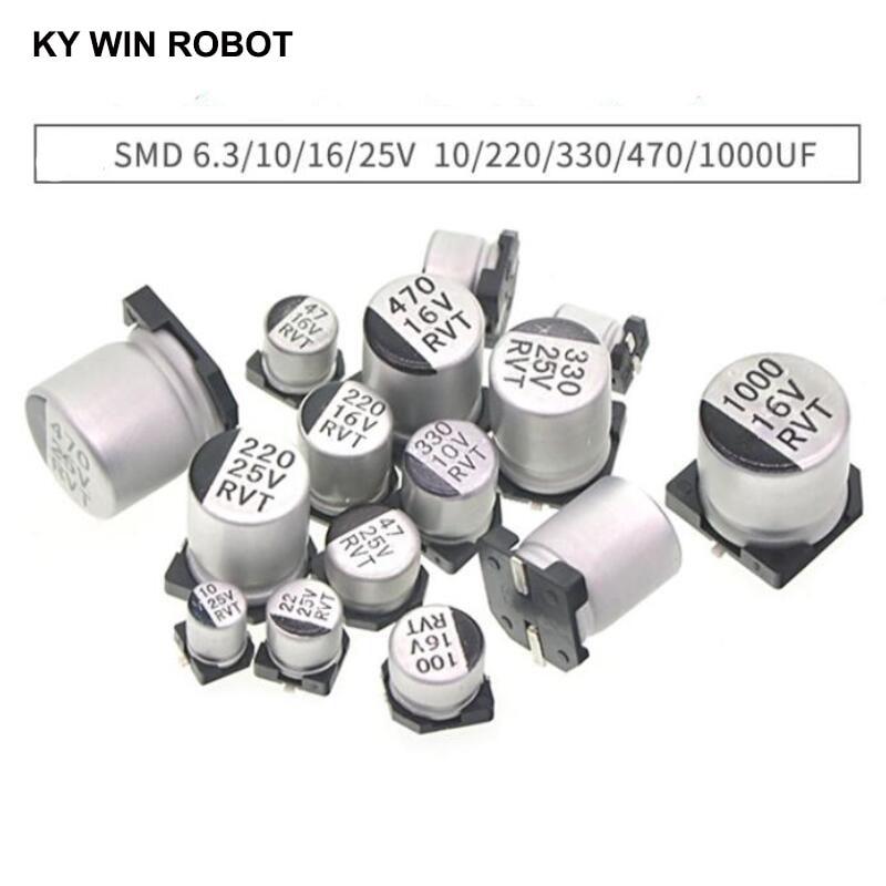 10pcs SMD 6.3V 10V 16V 25V 35V 50V Aluminum Electrolytic Capacitor 1UF 2.2UF 10UF 22UF 33UF 47UF 100UF 220UF 330UF 470UF 1000UF