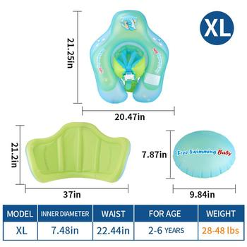 Inflatable Baby Swimming Float With Canopy Infant Kids Swim Pool Accessories Circle Bathing Toddler Rings Summer Water Toys - FB6013XL