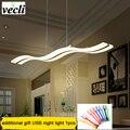 Kreative moderne welle LED anhänger lampe S 38W verstellbare hängende lampe esszimmer restaurant wohnzimmer kronleuchter 110V 220V-in Pendelleuchten aus Licht & Beleuchtung bei