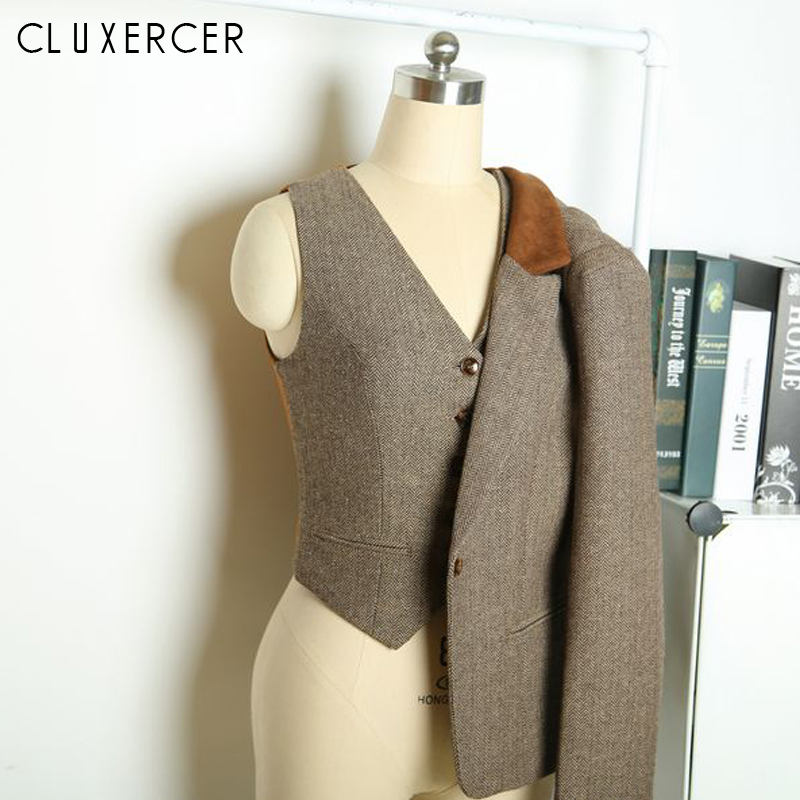 CLUXERCER Brand British Style Blazer Women Vintage Slim Plaid Elbow Patch Ladies Office Suit Jacket Women Blazers and Jackets Платье