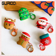Christmas Series For Apple AirPods Bluetooth Earphone Case Cartoon Protective Silicon Soft Cover For Air pods 1 2 Cute Cover Box(China)
