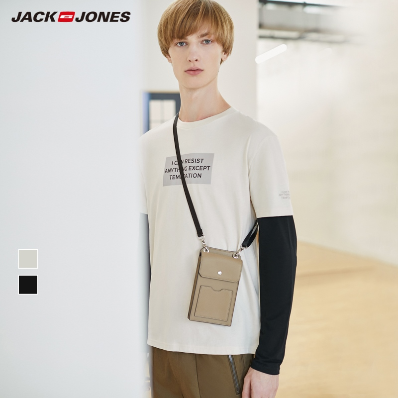 JackJones Men's 100% Cotton Letter Print Round Neckline Basic Short-sleeved T-shirt| 220101545