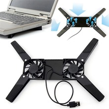 Black Rotatable USB Fan Cooling Pad 2 Fans Cooler Notebook Computer Stand For 10-17 Laptop
