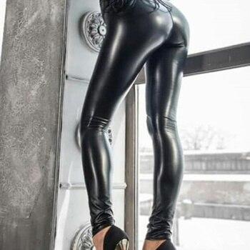 Leggings Push Up para mujer, de cintura alta Legging, pantalones elásticos sexis para mujer, pantalones cálidos de cuero de talla grande, Leggins de invierno negros apilados