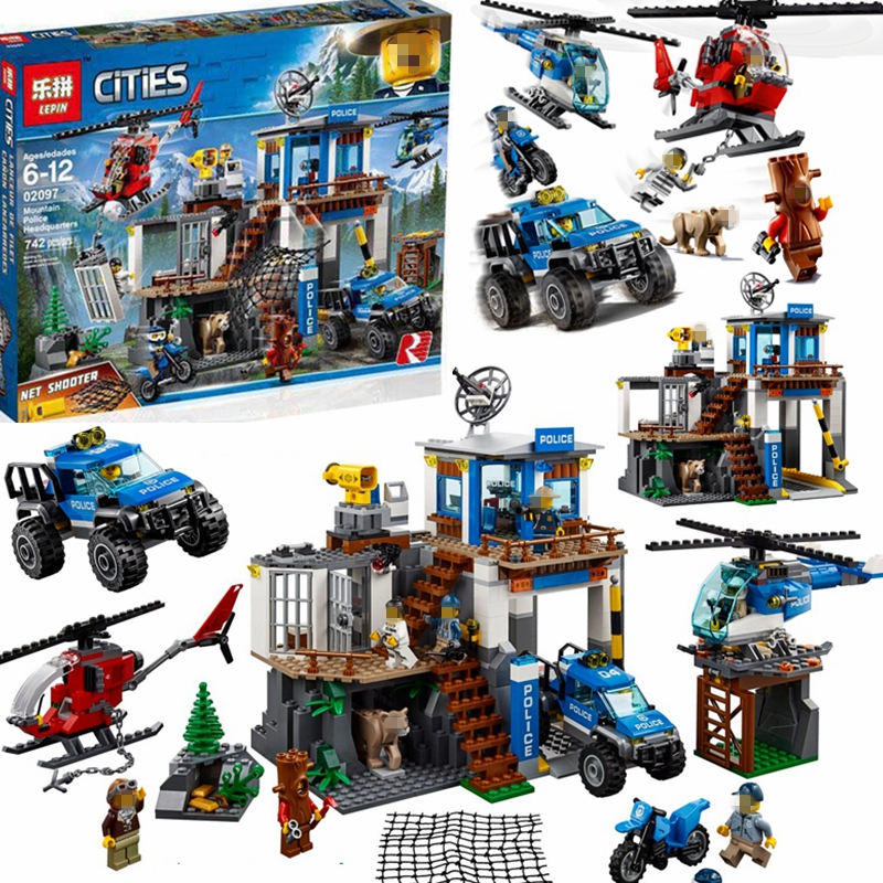 New City Series Mountain Police Headquarters Building Block 60174 City Police Buildings Educational DIY Toy For Children Gift