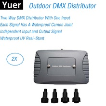 2 Way Outdoor DMX Distributor Stage Light Controller DMX 512 Splitter Light Signal Amplifier Splitter 2 Way Distributor IP 65