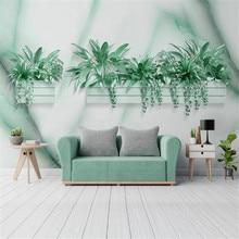 Milofi modern three-dimensional flower jazz white marble geometric living room TV background wall