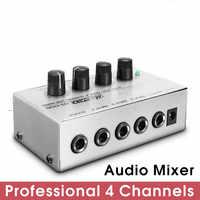Mezclador de sonido portátil para música, 12V, Ultra compacto, 4 canales, DJ, PC, Karae