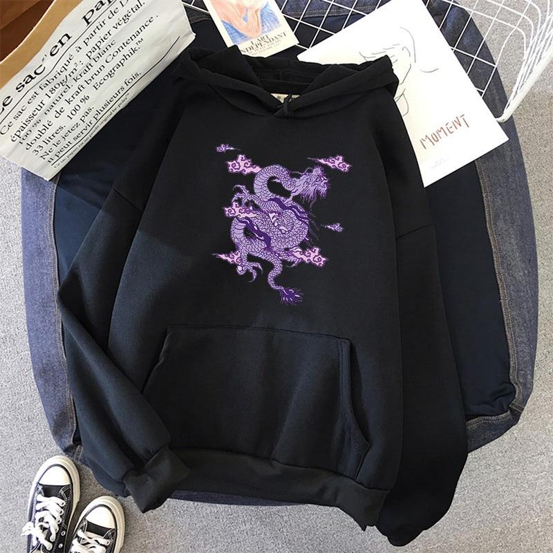 Dragon Print sweatshirt Women hoodie Cute Hip hop Kawaii Harajuku Oversized kawaii womens tops clothes 4