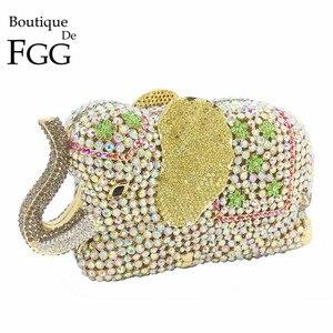 Image 1 - Женская сумка кошелек Boutique De FGG, с золотыми кристаллами и 3d рисунком слона, металлическая, для свадебного и выпускного бала