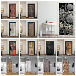 Papéis de parede engrenagem retrô de metal, para sala de estar, porta de madeira, arte, decoração, autoaderente, melhora caseira, murais 3d