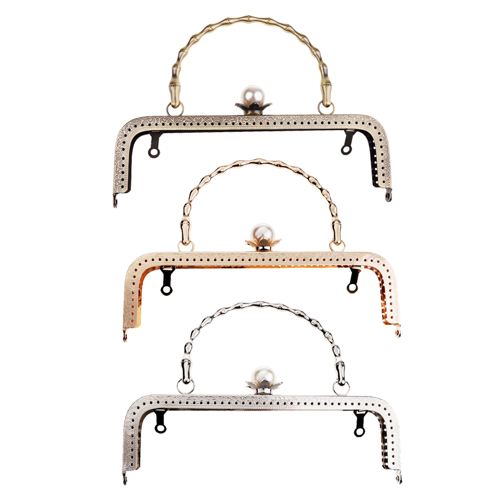 20cm Retro Purse Bag Clutch DIY Craft Metal Frame Pearl Bead Head Clasp Lock