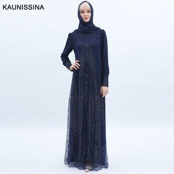 KAUNISSINA Luxuxy Sequined Evening Dress Long Sleeve Muslim Formal Dresses Vintage Arabic Formal Prom Gowns