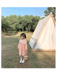 Image 1 - Kids Dresses for Girl Spring Autumn Children Clothes Girls Pure All Cotton Princess Dress Preppy Style Skirt Toddler Dress