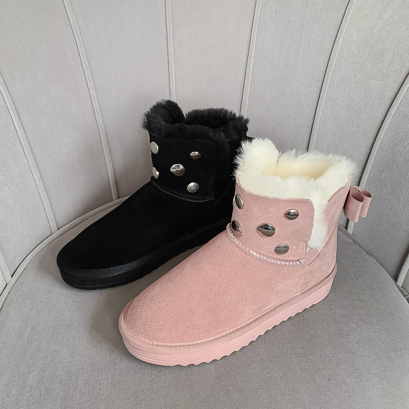 MORAZORA 2020 new hot sale snow boots comfortable flat heel round toe rivets winter shoes keep warm sweet pink ankle boots women 62