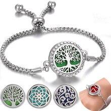 Pulseira de aromaterapia difusor jóias ajustável corrente cristal caleidoscópio flor de lótus aroma braçadeira perfume medalhão pulseira