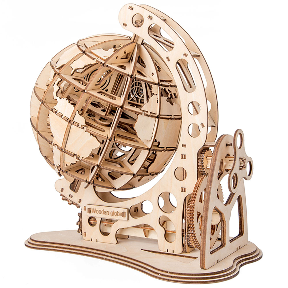 DIY Rotatable 3D Earth Wooden Toy Assembled Globe Puzzle Game Assembled Toy Gift Modeling Simulation Brick Portable
