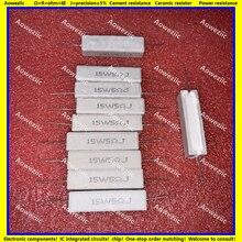Resistencia de cemento Horizontal, 10 Uds., 15W5RJ 15W5ΩJ RX27 15W 5 ohm 15W5R 5RJ 15W5ohm, resistencia de cerámica, precisión 5%, resistencia de potencia
