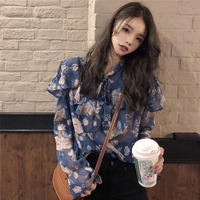 Floral print women shirts bohemian style chiffon vintage summer tops and blouses flare sleeves modis femme blusas mujer