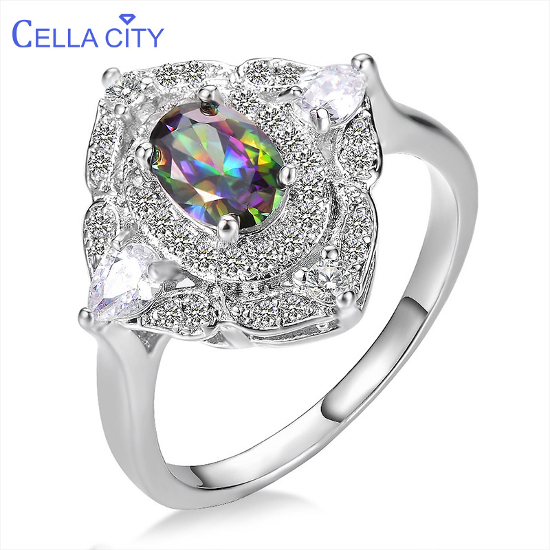 Cellacity Trendy Silver 925 Jewelry Gemstones Rings For Women Oval Topaz Plant Flower Geometry Size6,7,8,9 Female Party Ring