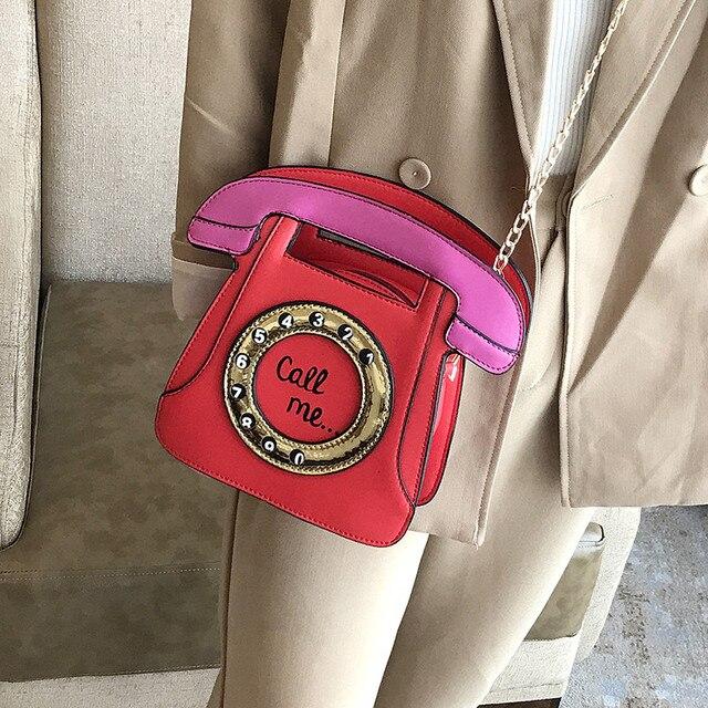 Brand Designer Cute Bag Mini Crossbody Bags Phone Chains Letter Funny Womens Pu Leather Telephone Shaped Fashion Messenger Bag