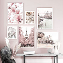 Pink Magnolia Flower Venice Building Landscape Art Canvas Painting Nordic Posters And Prints Wall Pictures For Living Room Decor