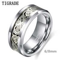 Tigrade 6/8mm Männer Silber Hartmetall Ring Luxus Hochzeit Band Silber Drachen Inlay Modeschmuck Komfort Fit anel masculin