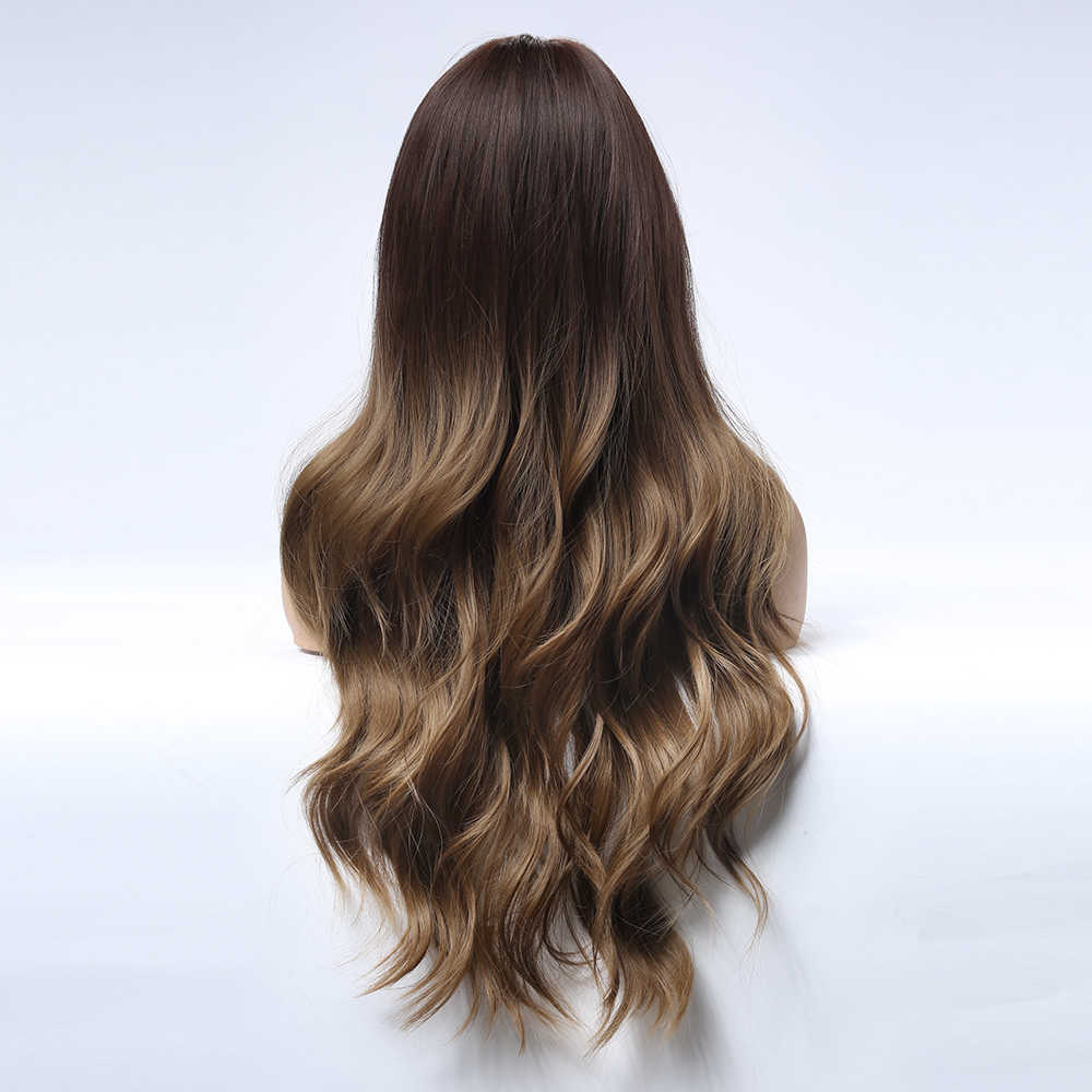 Парики из искусственных волос без шапочки-основы волнистые с чёлкой по бокам темно-коричневый вечерние парики 8 цветов