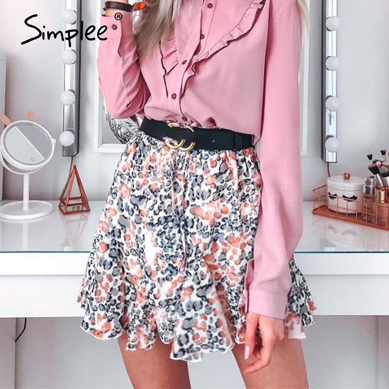 Simplee Leopard Chiffon Skirt Summer Beach Women Bow Elastic High Waist Mini Skirts Casual Sexy Feminino Short Ruffles Skirt