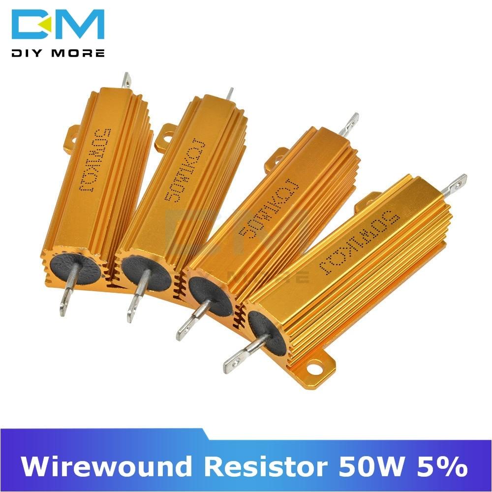 0.5R 1R 2R 4R 6R 8R 10R 20R 50W Aluminum Shell Housed Case Power Wirewound Resistor 1K 5% +5% -5% 0.5/1/2/4/6/8/10/20/50/100 Ohm