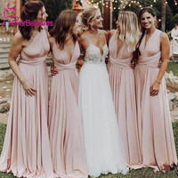 Cheap Long Blush Pink Bridesmaid Dresses Long 2020 Wedding Guest Dress Vestido De Festa