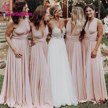 Tanie długie różowe suknie dla druhen długie 2020 suknia dla gościa weselnego Vestido De Festa tanie i dobre opinie EVERBEAUTIES Długość podłogi -Line CN (pochodzenie) O-neck Bez rękawów Zakładka Dla dorosłych EB0510 Suknie druhna