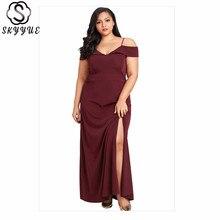 Skyyue Solid Split Wrap Evening Dress Off Shoulder Robe De Soiree Plus Size Women Party Dresses Short Sleeve Formal Gown T015 split sleeve plus size wrap top