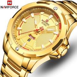 NAVIFORCE Watches Top Brand Luxury Gold Quartz Watch Men Stainless Steel Waterproof Mens Wristwatches Calendar Analog Male Clock
