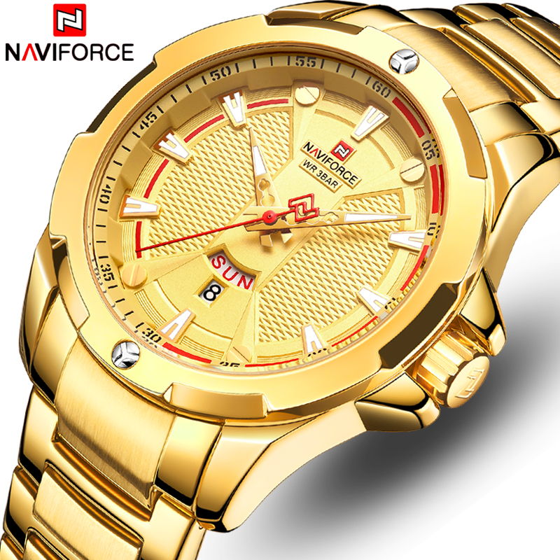 NAVIFORCE Watches Top Brand Luxury Gold Quartz Watch Men Stainless Steel Waterproof Mens Wristwatches Calendar Analog Male Clock