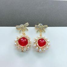 Fashion Red Natural Pearl Korean Dangling Earrings for Women Christmas Jewelry Boucle Doreille Femme 2019 Oorbellen Hangers