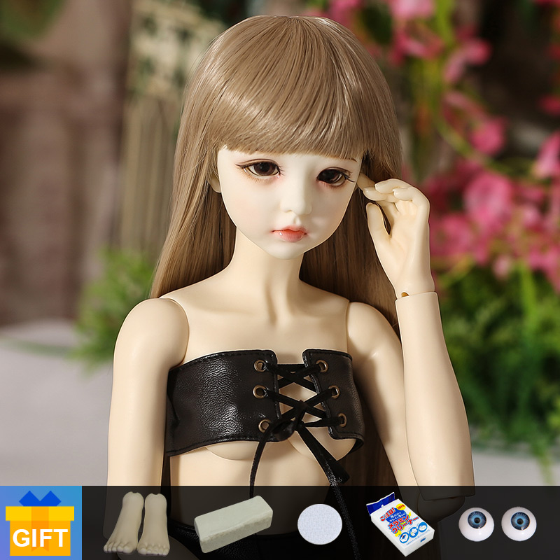 1/3 doll bjd Supia Emma Leather outfit fullset with face up Body Jointed resin doll Children fashion Toys for Girl Birthday Gift