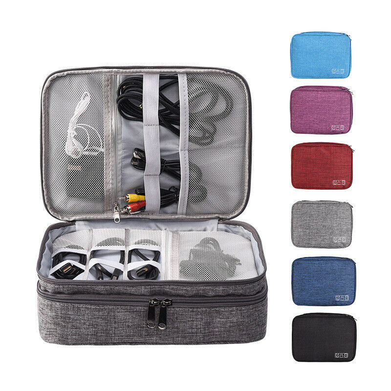 Electronics Accessory Organizer Travel Storage Hand Bag Cable USB Drive Case