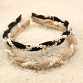 NEUE Mode Luxuriöse Perlen Strass Haar Hoop Stirnband Hairband für Frauen Mädchen Gaze Haar Band Haar Zubehör