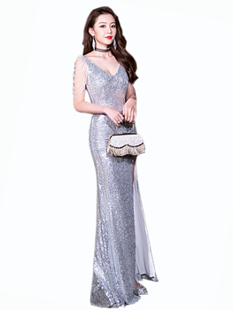 Sparkle Sequined Evening Dress Luxury V-neck Sparkling Evening Gowns Prom Mermaid Dress Vestidos De Fiesta Party Lady Night Robe