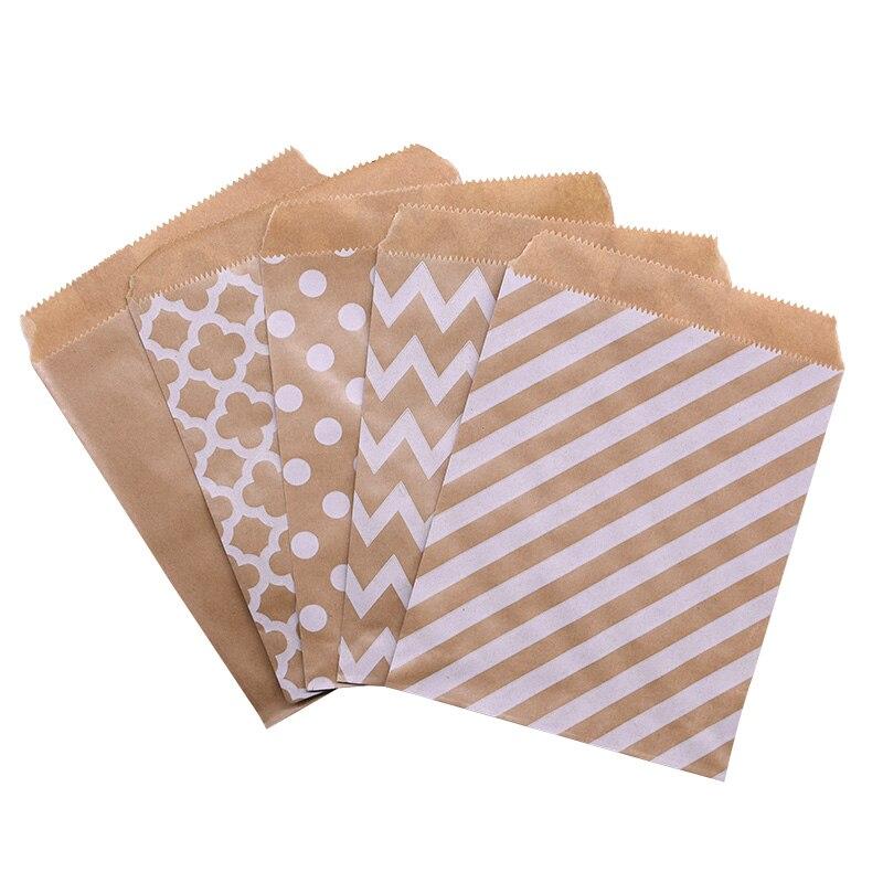 25 pces tratar doces kraft bolsa de papel bolinhas biscoito pipoca alimentos sacos de presente festa de casamento pacote favor suprimentos 18*13cm