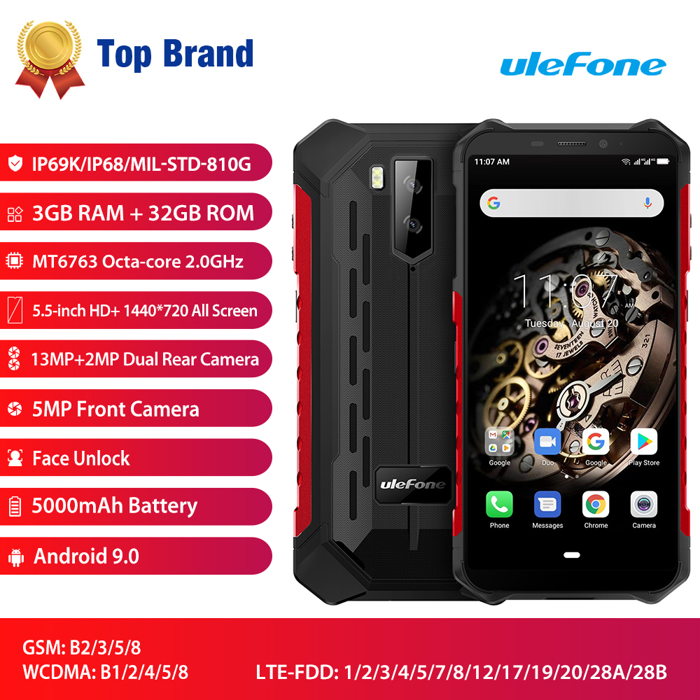 Ulefone Armor X5 NFC 4G LTE Mobile Phone Ip68 Rugged Waterproof Smartphone Android 9.0 MT6763 Octa Core Cell Phone 3GB 32GB