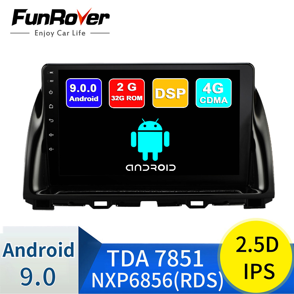 FUNROVER android 9.0 2.5D+IPS car dvd multimedia player For <font><b>Mazda</b></font> CX-5 <font><b>CX5</b></font> 2013-2016 radio gps <font><b>navigation</b></font> stereo autoradio DSP image
