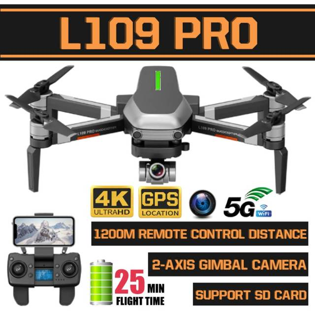 L109 Pro GPS Profissional Drone with HD 4K Gimbal Camera 5G WiFi FPV 1.2km control Brushless Motor RC Quadcopter Helicopter Toy