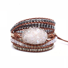 Natural Stones Wrap Charms Bracelet For Women White Crystal Cluster Boho Leather Beads Bracelets Accessories Bijoux