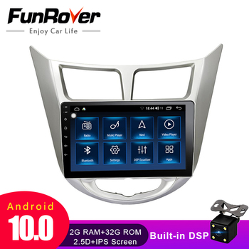 Funrover 2.5D+IPS android 10.0 Car Radio Multimedia Player dvd GPS Navigation For Hyundai Solaris Verna Accent i25 2010-2016 dsp image
